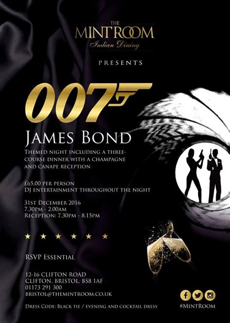 james bond themes by year james bond new year s eve party at the mint room in