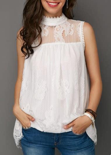 Lace Panel Mock Neck Top sleeveless mock neck lace panel white blouse rosewe