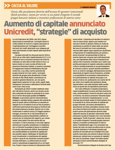 unicredit sede legale fax aumento di capitale annunciato unicredit strategie di