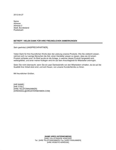 Vielen Dank Und Mit Freundlichen Grüßen Brief Vielen Dank F 252 R Ihre Freundlichen Anmerkungen Vorlagen Und Muster Biztree