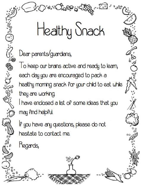 Parent Letter Requesting Snacks Pin By Megan Mcgivney On Education