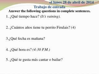 preguntas answer the questions negatively using complete sentences and direct object pronouns ppt three skeleton key using complete sentences answer