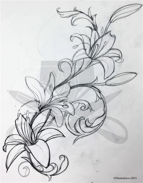 tattoo flash lily filigree lily hautedraws