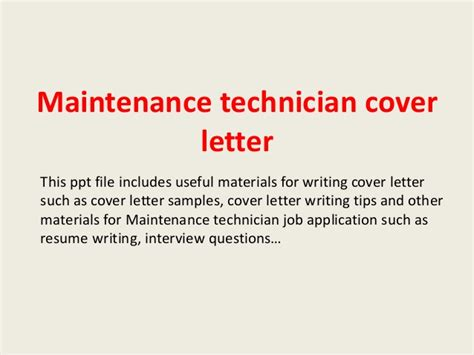 cover letter for maintenance mechanic position maintenance technician cover letter