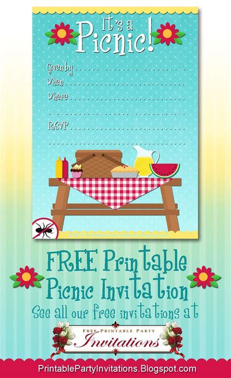 Free Printable Picnic Invitation Party Printables Pinterest Picnic Invitations Picnics Free Picnic Invitation Template