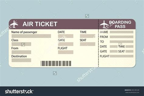 pretend airline ticket template