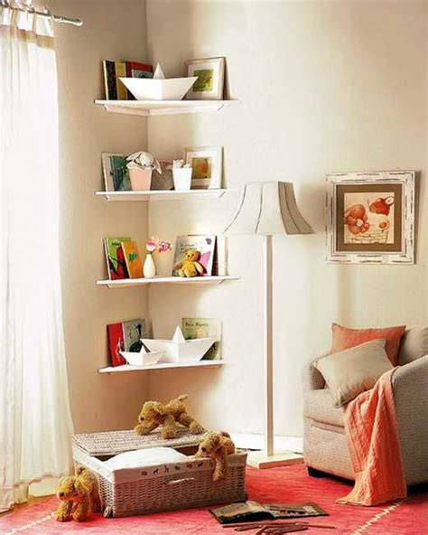Shelving Ideas For Small Rooms Simple Diy Corner Book Shelves Adding Storage Spaces To
