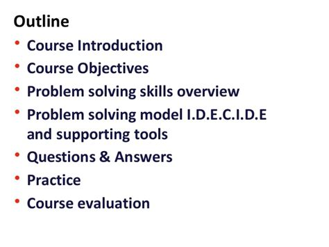 Problem Solving Skills Outline by Creative Problem Solving Skills For Staff