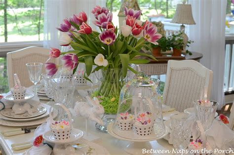 Pottery Barn Interior Design easter table spring setting with tulip centerpiece and