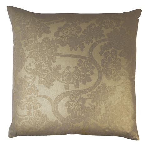 Metallic Decorative Pillows by Kevin O Brien Studio Lovebirds Metallic Linen Decorative