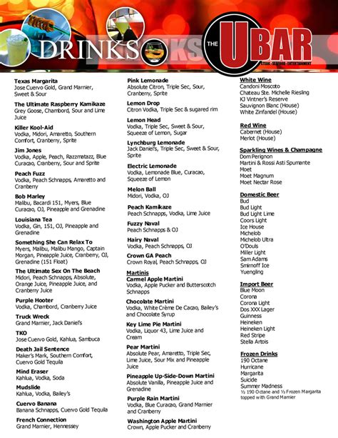 bar drink menu template the u bar atl