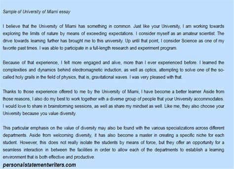 College Application Essay Of Miami Of Miami Personal Statement And Admission Essays Writing
