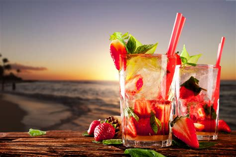 cocktail drinks on the beach wallpaper cocktails tropical beach fruit strawberries