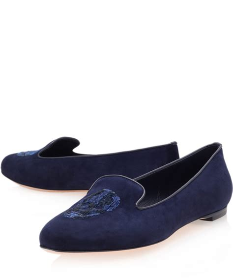 flat suede shoes mcqueen navy suede flat slipper shoes in blue lyst