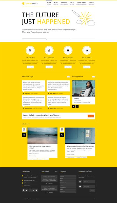 theme line yellow free lemon responsive portfolio wordpress theme by