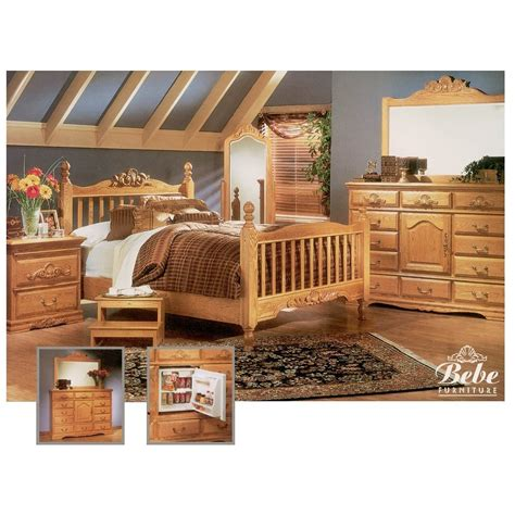 Light Oak Bedroom Furniture Sets Bebe Furniture Country Heirloom Four Post Rake Suite Bedroom Set Light Oak Atg Stores
