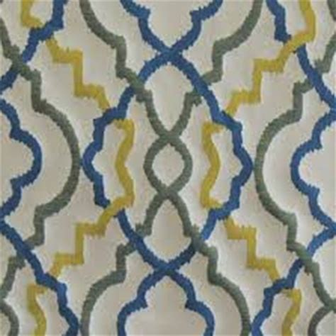 Swavelle Millcreek Upholstery Fabric by Kasuri Scroll Caribbean Upholstery Fabric By