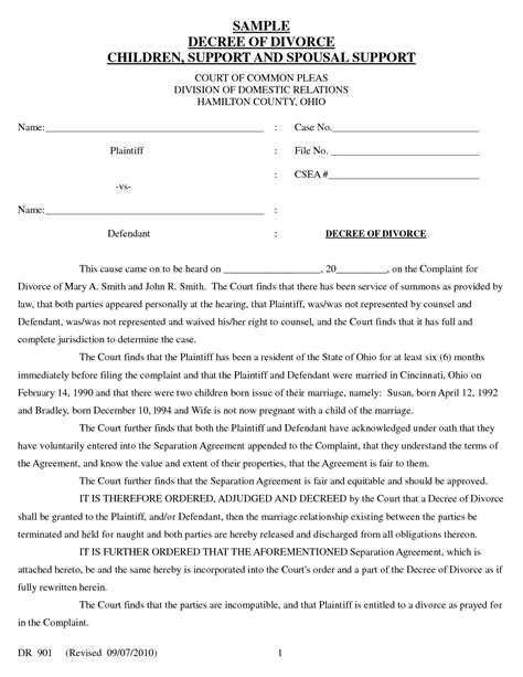 Divorce Letter To Government Blank Petition Form Template