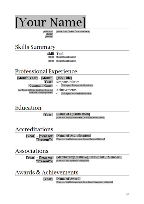 Professional Resume Word Template by Professional Resume Template How To Write Stuff Org