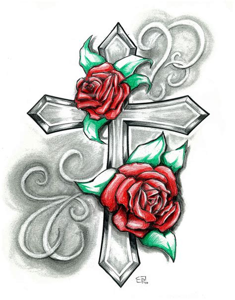 crosses and roses tattoos cross by elguapo6 on deviantart