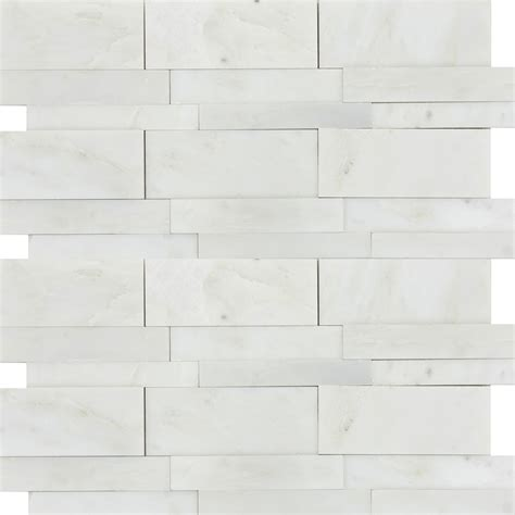Emser Tile Marble 3D Linear Mosaic Winter Frost