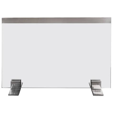 Tempered Glass Fireplace Screen by Custom Modern Tempered Glass Screen With Polished Nickel And For Sale At 1stdibs