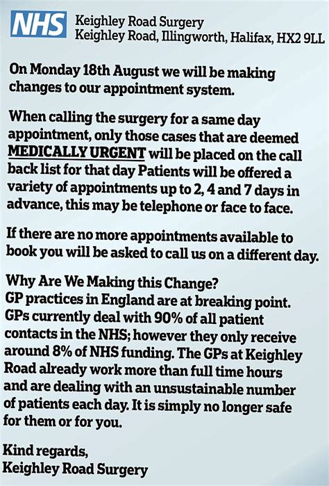Confirmation Letter From Gp it s not safe for you here overwhelmed gp surgery tells