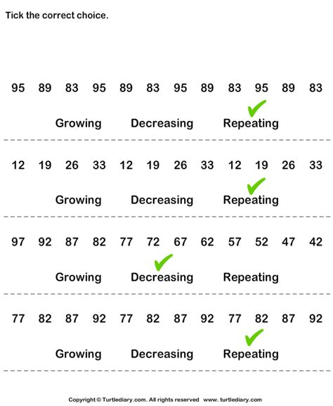 pattern in whole numbers identify growing decreasing or repeating patterns