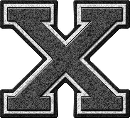 Letter Grey Presentation Alphabets Grey Varsity Letter X