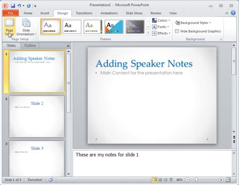 powerpoint notes template how to change the size of a powerpoint 2010 slide