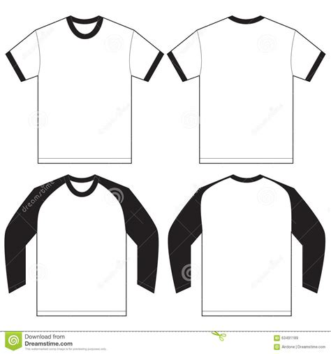 Black White Ringer T Shirt Design Template Stock Vector Illustration Of Shirts Ringer 63491189 Sleeve T Shirt Design Template