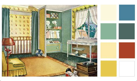 1920s nursery color scheme child s room blues greens yellows vintage color antique