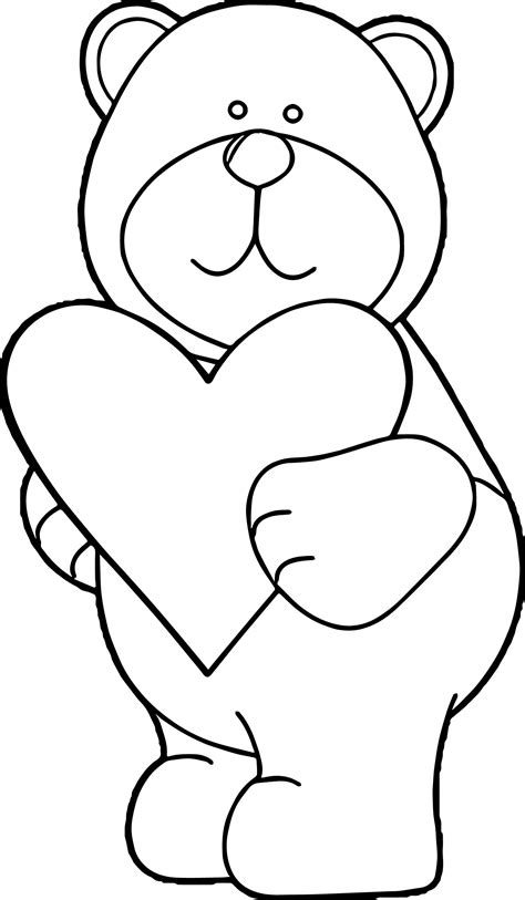 coloring page bear with heart bear heart coloring page wecoloringpage