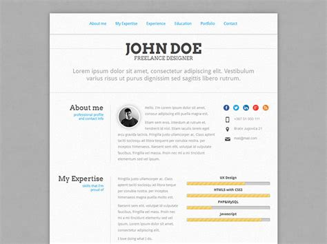 Resume Format Using Html Code 48 Best Free Premium Html Cv Resume Templates Wakaboom