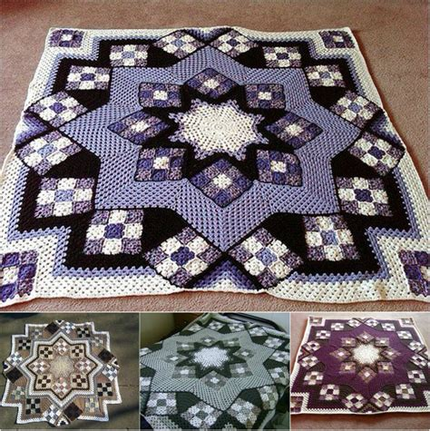 motif afghan pattern great blue star crochet afghan free pattern patience