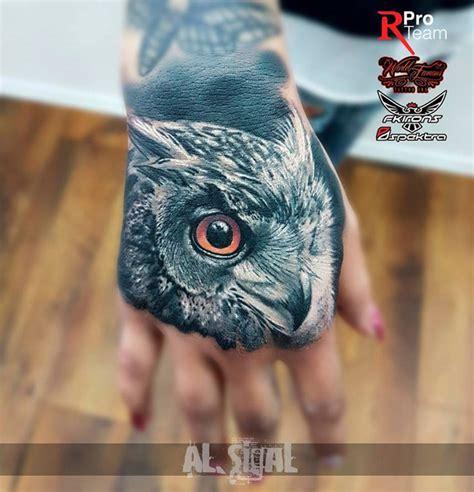 owl tattoo portrait owl portrait on girls hand best tattoo design ideas