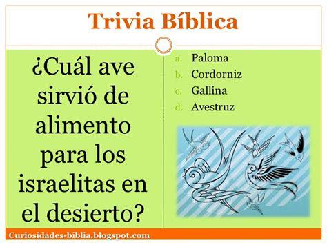 preguntas biblicas dinamicas trivia biblica 191 cual ave sirvio de alimento para los