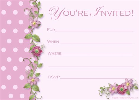 free pink polka dot invitations printable kits