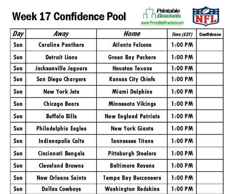printable nfl schedule week 17 nfl confidence pool week 17 football confidence pool week 17