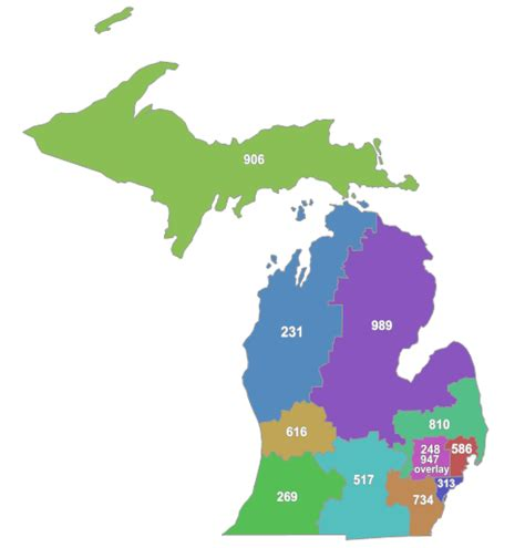 michigan area code map map of michigan area codes michigan map