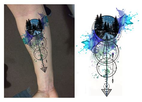 watercolor tattoo geometric designer andrija protic geometrical nature forearm