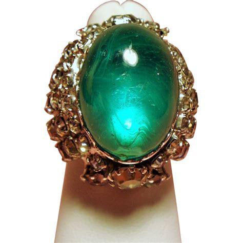 vintage vendome faux emerald cabochon rhinestone