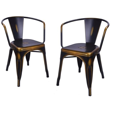Copper Dining Chairs Adeco Antique Copper Metal Stacking Dining Chairs Set Of 2 Ch0157 3