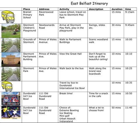 itinerary calendar template itinerary template calendar template 2016