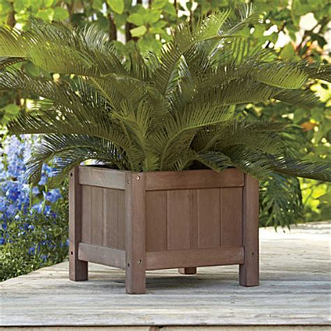 Wood Outdoor Planters 15 Quot Square Faux Wood Raised Planter Contemporary