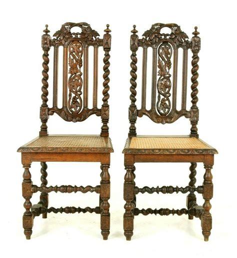 pair antique hall chairs barley twist chairs pair oak