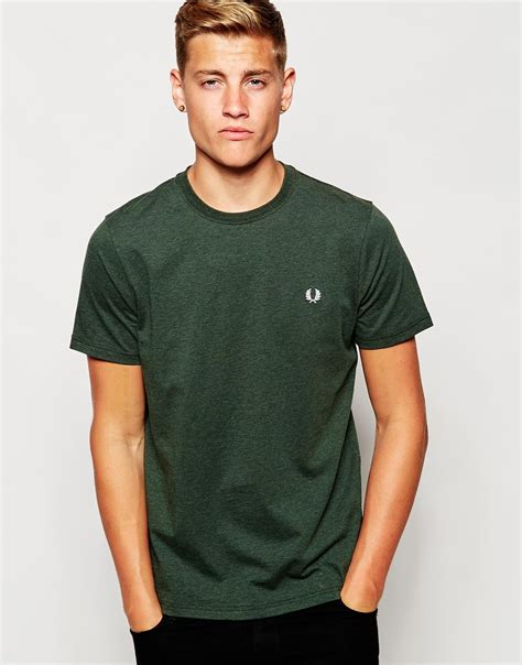 Fred Perry T Shirt lyst fred perry t shirt in crew neck green in green