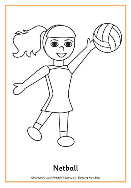 coloring pages netball netball colouring page