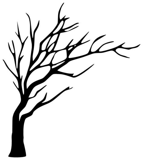simple tree drawing leafless tree silhouette to paint in the bathroom and