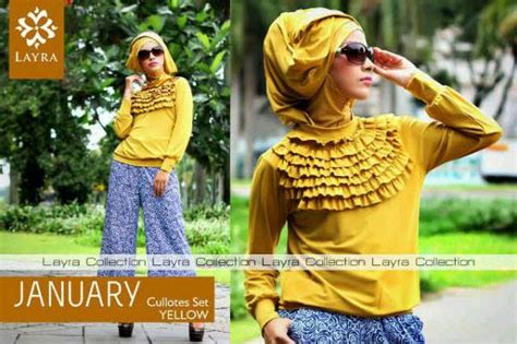 Stelan Kulot Green january by layra yellow baju muslim gamis modern